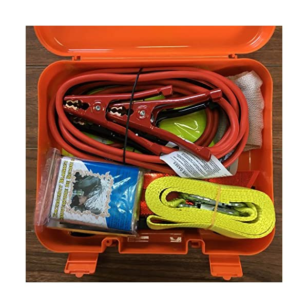 Cartman Roadside Assistance Auto Emergency Kit Set Booster Cables 6Ga Tow Belt 4500Lbs In Carry Box