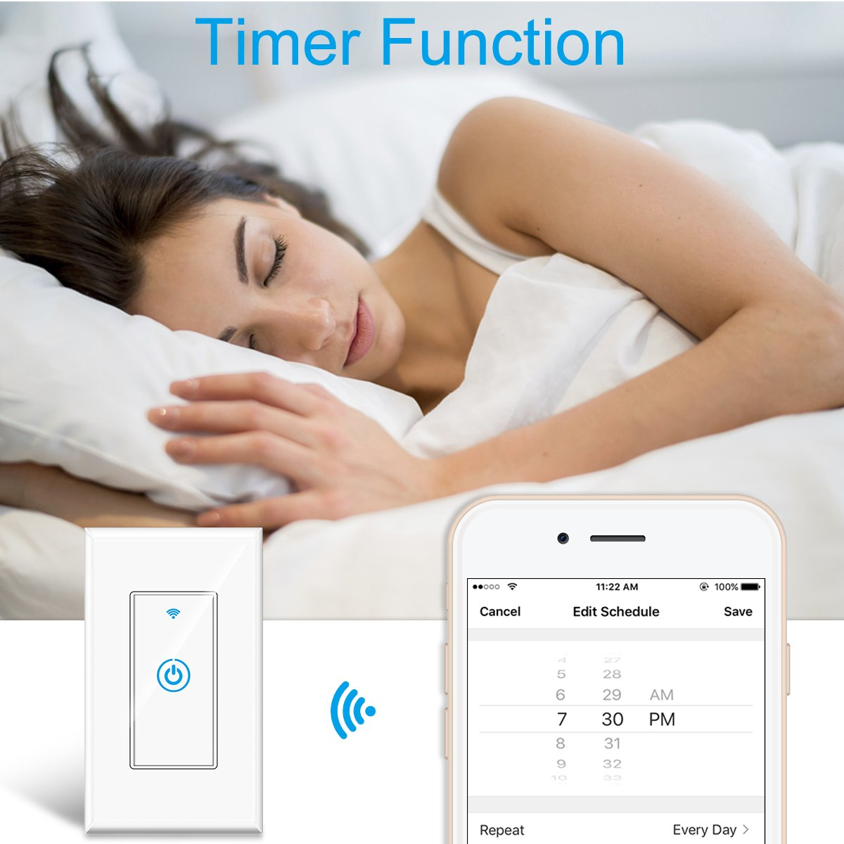 Smart Light Switch - Gosund Smart Wifi Light Wall Switch 15A Touch Timing Function Remote Control From Anywhere, Works with Alexa, Google Assistant And IFTTT, No Hub Required (1 pack) by Gosund (Image #3)