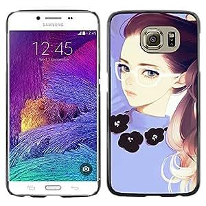 Shell-Star Arte & diseño plástico duro Fundas Cover Cubre Hard Case Cover para Samsung Galaxy S6 / SM-G920 / SM-G920A / SM-G920T / SM-G920F / SM-G920I ( Girl Redhead Glasses Purple Smart )
