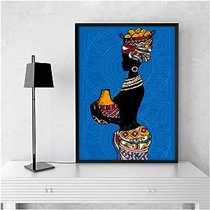 GIRDSS Hermosa Mujer Negra Africana Lienzo Pintura