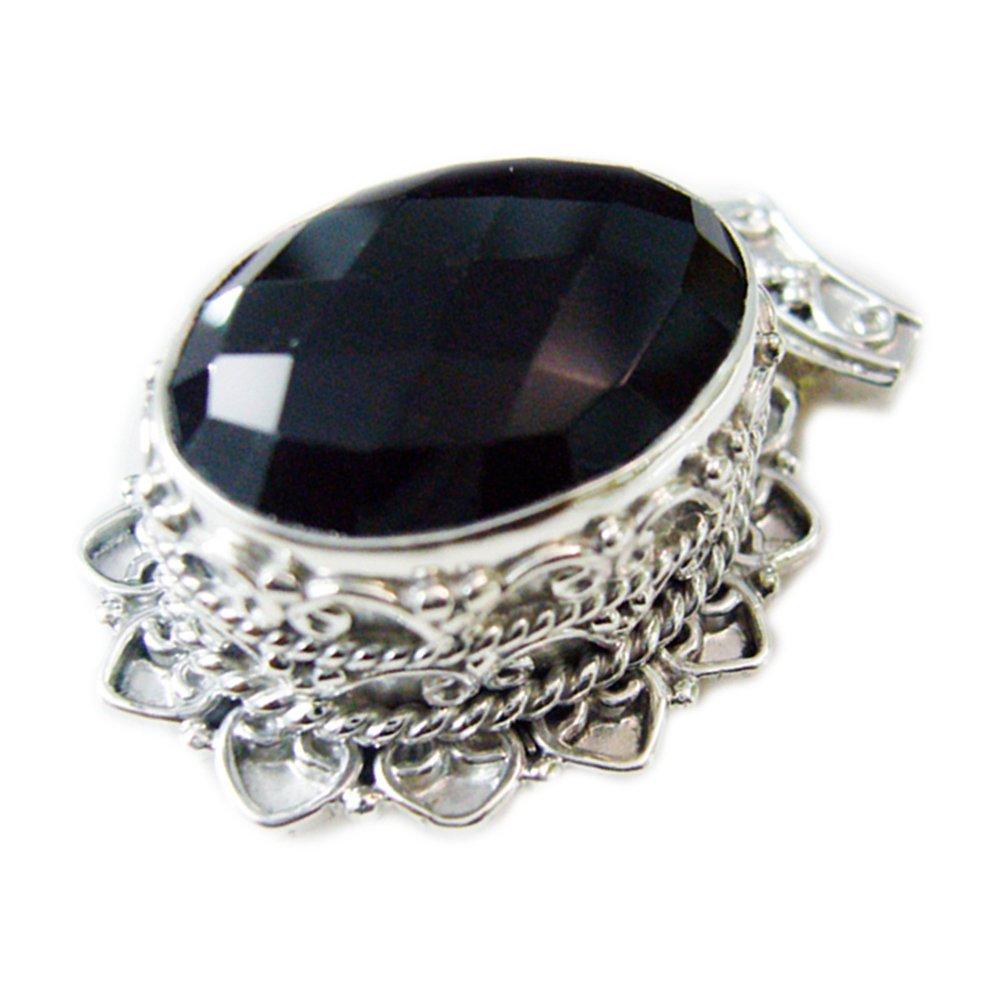 Gemsonclick Natural Cheker Black Onyx Pendant 925 Sterling Silver Charm Vintage Healing Handmade Necklace