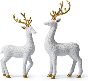 SEINHIJO 2pcs Statue Figurine Lovers Deer Sculpture Animal Decor for Home Gifts Souvenirs Giftbox Polyresin White 30cmH