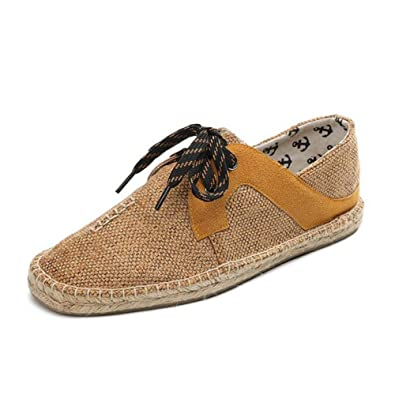 Mens Canvas Shoes 2018 New Flax Casual Shoes Flat Loafers Simple Lace-up Shoes Breathable Fashion