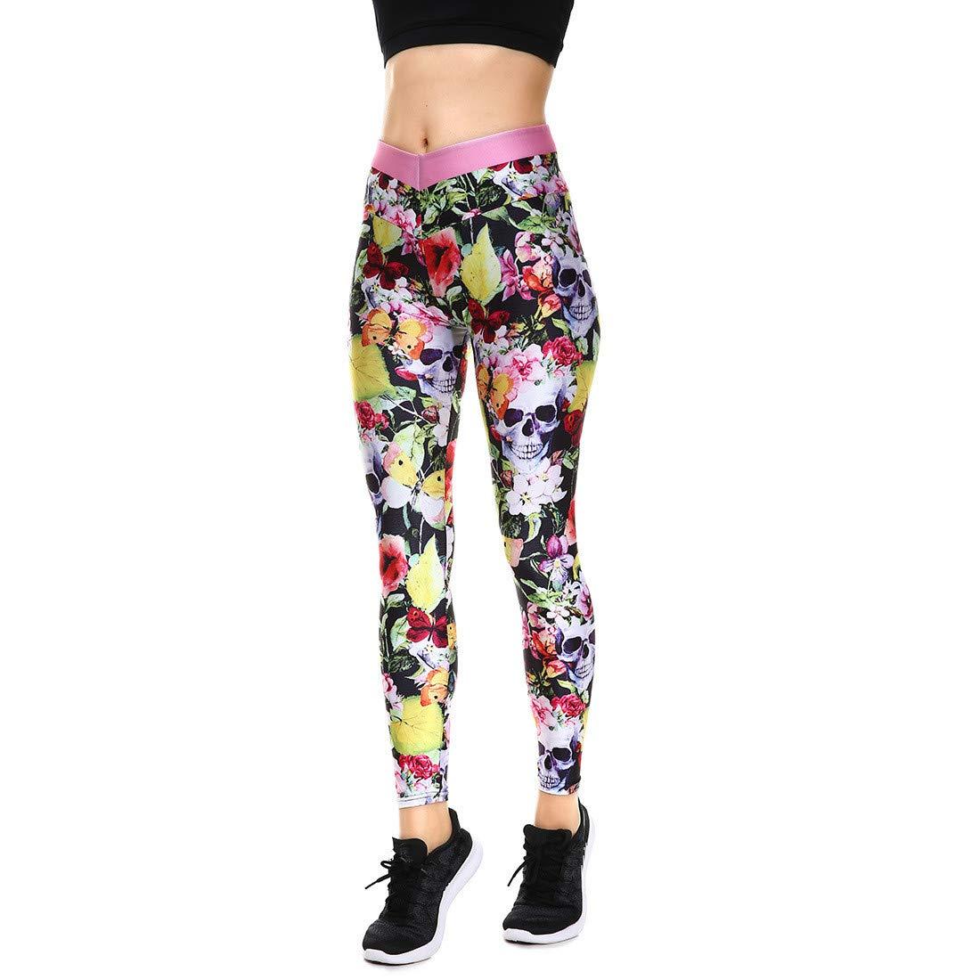 Fanii Quare Women's High Waist Dri-Fit Running Tights Printed Training Compression Workout Pants Leaf Skull S