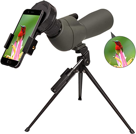 Newest 20-60×60 HD Spotting Scope BAK4 45 Degree Angled Eyepiece Telescope and 20x-60x Zoom Magnification for Target Shooting Hunting Bird Watching Wildlife Scenery with Tripod, Carrying Bag