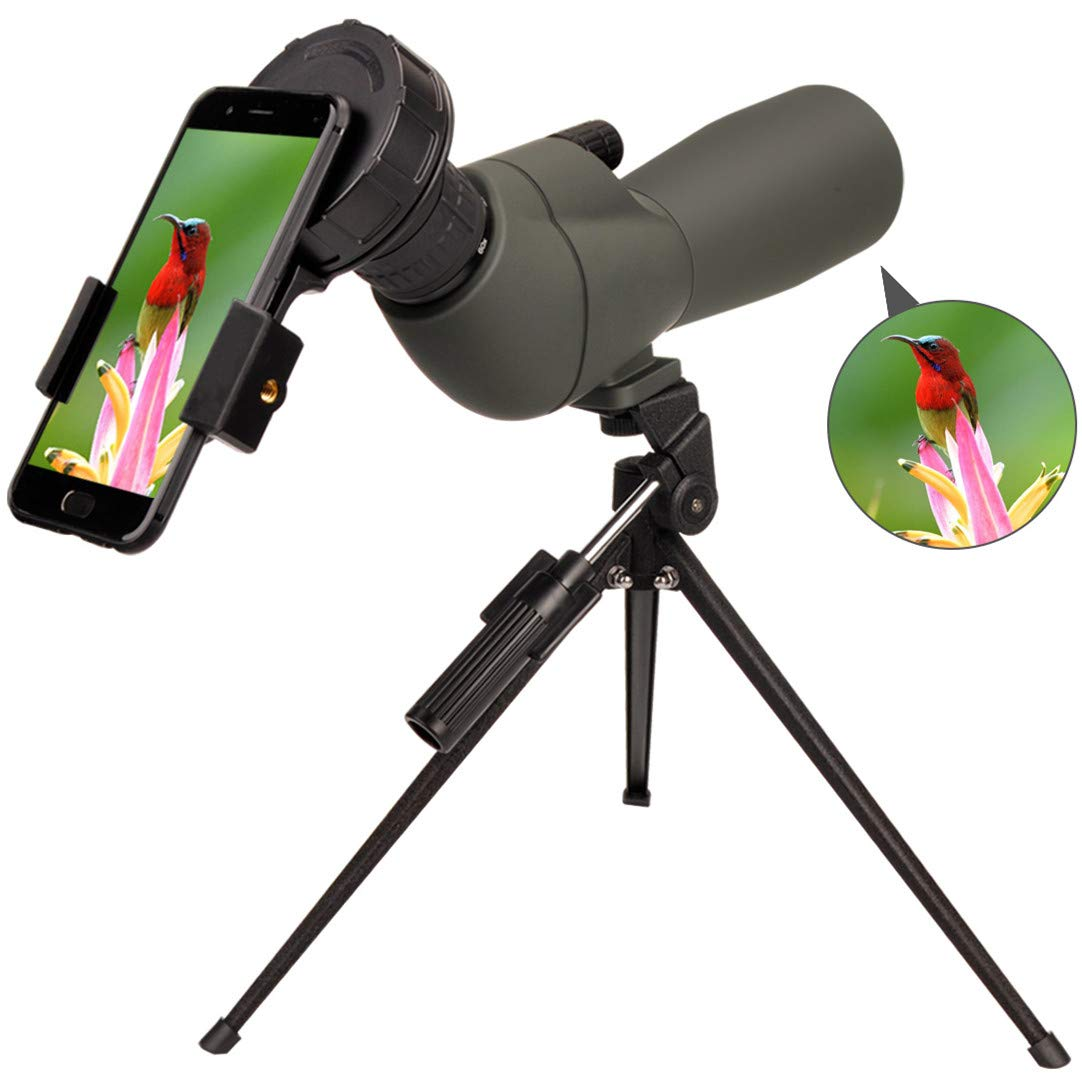 Newest 20-60x60 HD Spotting Scope BAK4 45 Degree Angled Eyepiece Telescope and 20x-60x Zoom Magnification for Target Shooting Hunting Bird Watching Wildlife Scenery with Tripod, Carrying Bag by SOLOMARK