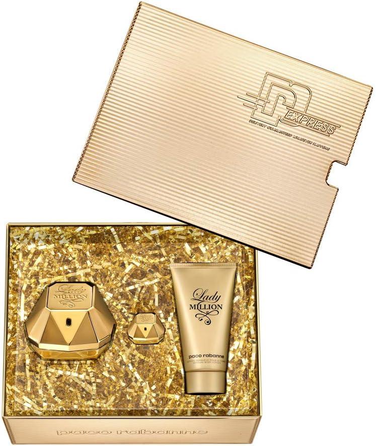 Paco Rabanne LADY MILLION 2019 - Caja de 50 ml Eau de Parfum, 5 ml EDP y 75 ml loción corporal: Amazon.es: Belleza