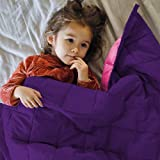 ZonLi Small Weighted Blanket 5 lbs(36''x48'', Pink/Purple), Cooling Weighted Blanket for Kids, 100% Cotton Material with…