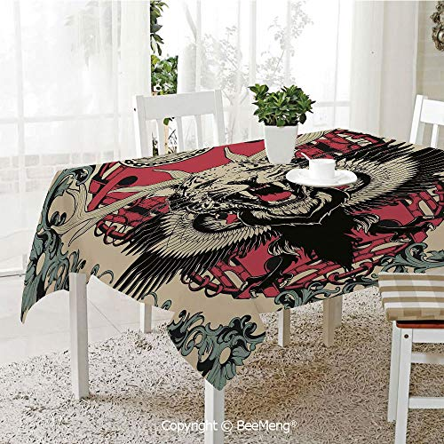 BeeMeng Large dustproof Waterproof Tablecloth,Family Table Decoration,Animal,Abstract Gothic Drawing of a Leopard Head with Horns and Wings Floral Ornaments Art,Multicolor,70 x 104 inches