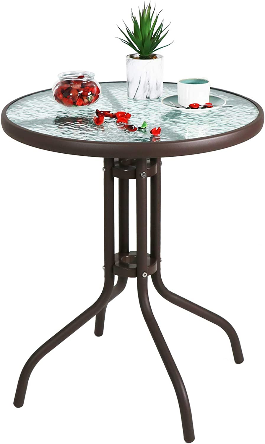 "Love & Peace 24"" x 24"" Outdoor Bistro Table Metal Round Patio Side Table Outdoor Coffee Table Furniture Garden Backyard Dining Table, W/Elegant Water Ripple Glass Table Top, Brown: Kitchen & Dining"