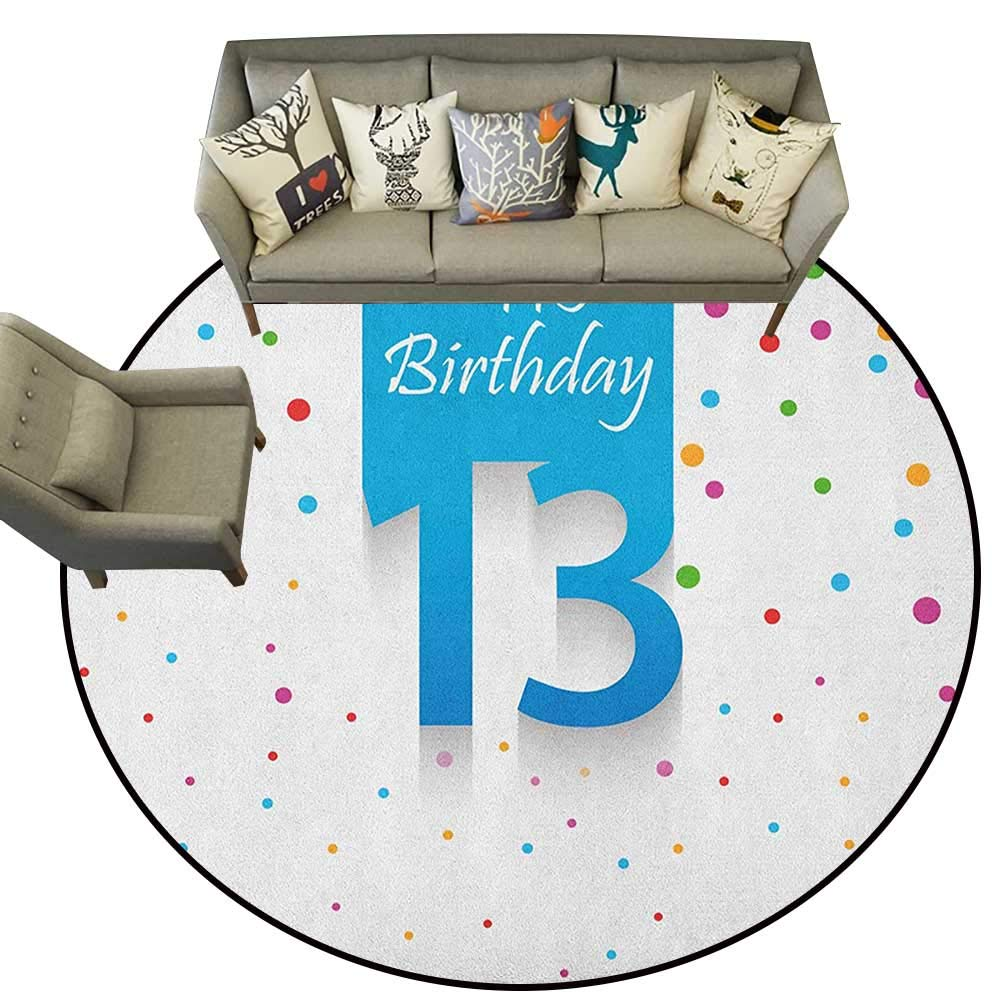 Style03 Diameter 36(inch& xFF09; 13th Birthday,Personalized Floor mats Joyful Surprise Event Teen Celebration Party with Balloons Ribbons Stars D54 Floor Mat Entrance Doormat