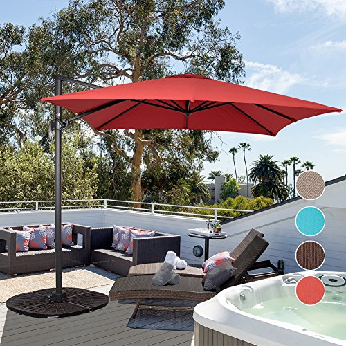 Sundale Outdoor 8.2ft Square Offset Hanging Umbrella Market Patio Umbrella Aluminum Cantilever Pole with Crank Lift, Corss Frame, Polyester Canopy, 360°Rotation, for Garden, Deck, Backyard (Brick Red) For Sale