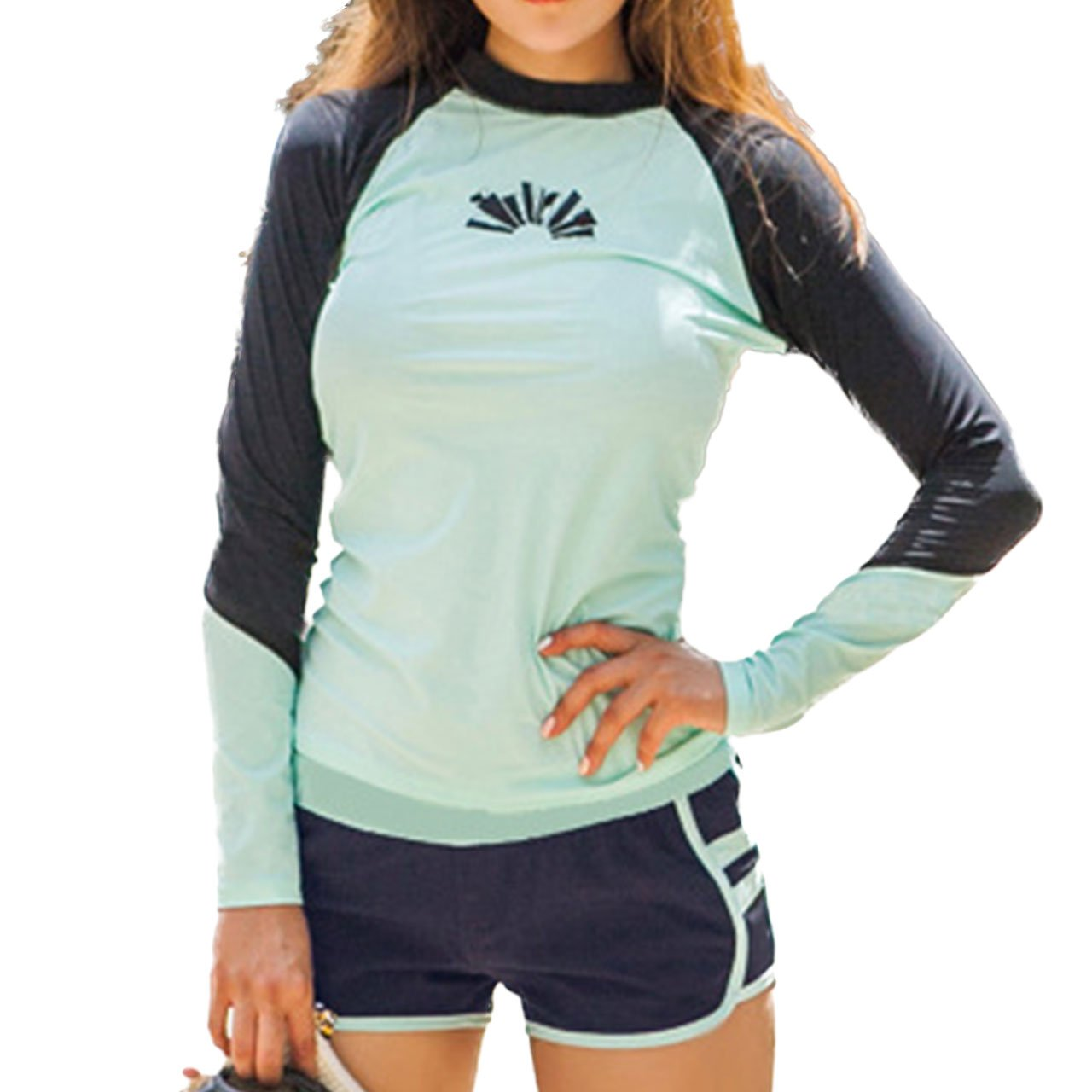 Women's Rash Guard Sets Long Sleeves Raglan Two Pieces Swimsuits Crew Neck Bra Pads Swimwear