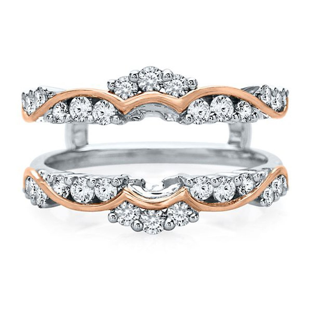 Solitaire Enhancer Round 3/4ct Created Simulated Diamonds Ring Guard Wrap 14K Two Tone Plated Jacket Alloy