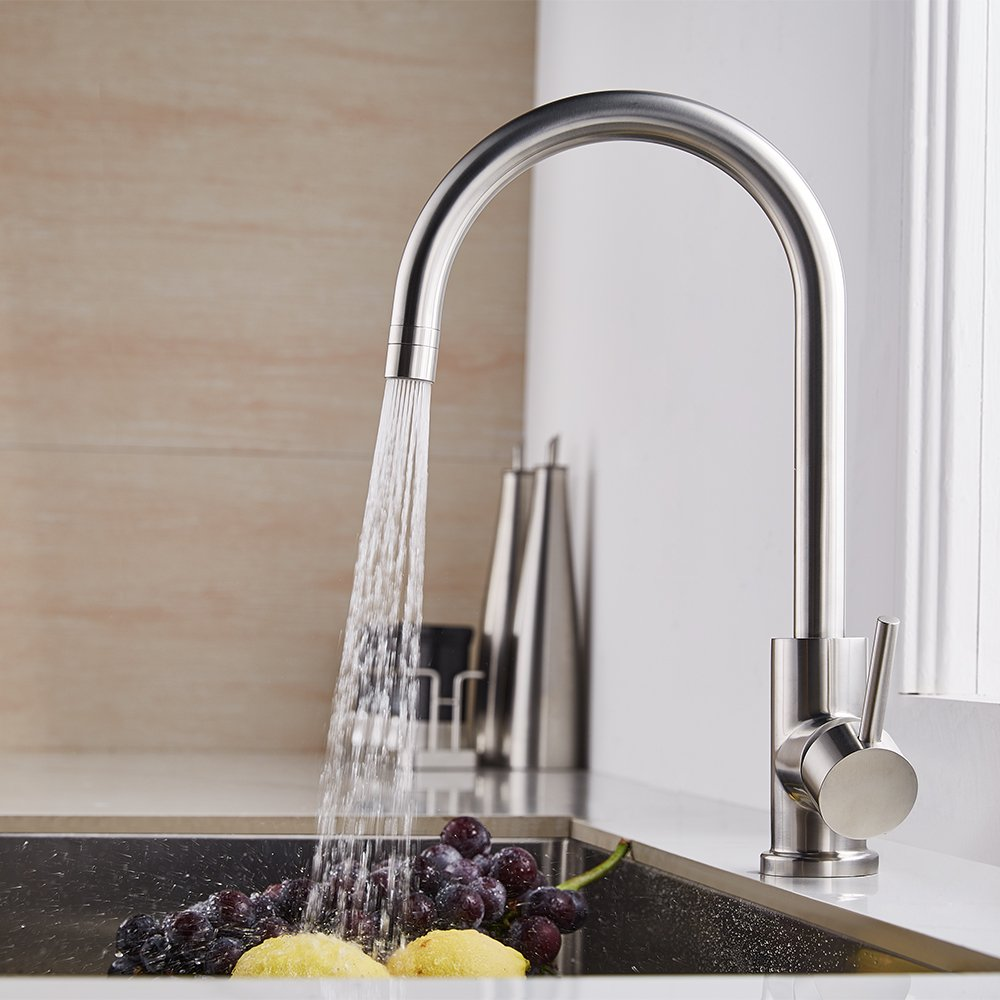 Trywell T304 Solid Stainless Steel Kitchen Sink Faucet, High Arc Single Lever Bar Faucet with Two-function Nozzle,1.8 Gpm by Trywell (Image #3)
