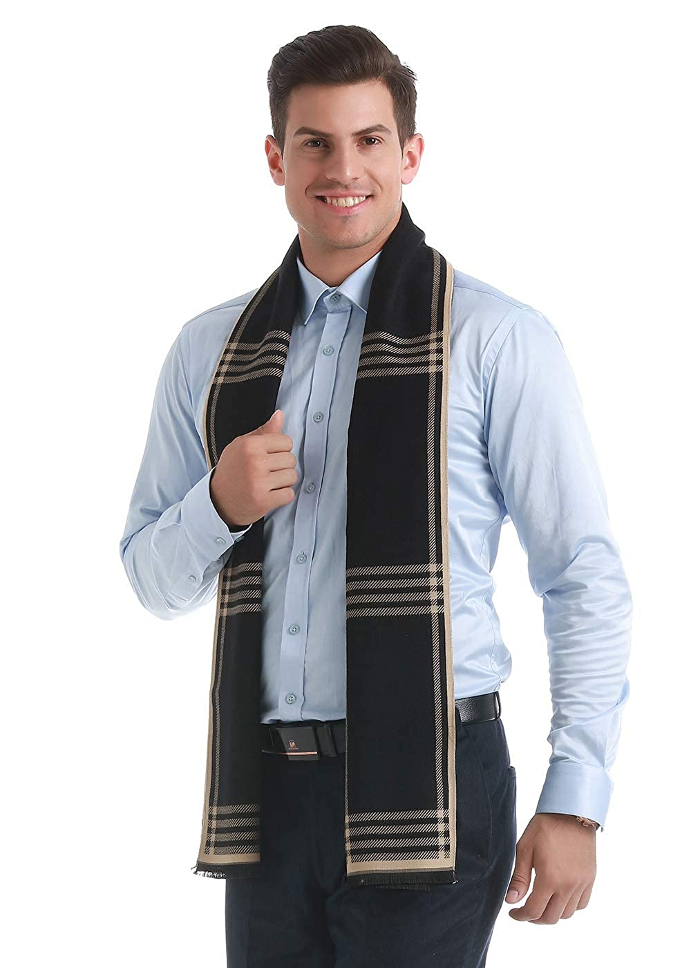 33 colors Heboto Mens Classic Cashmere Scarf Winter Warm Soft Scarf