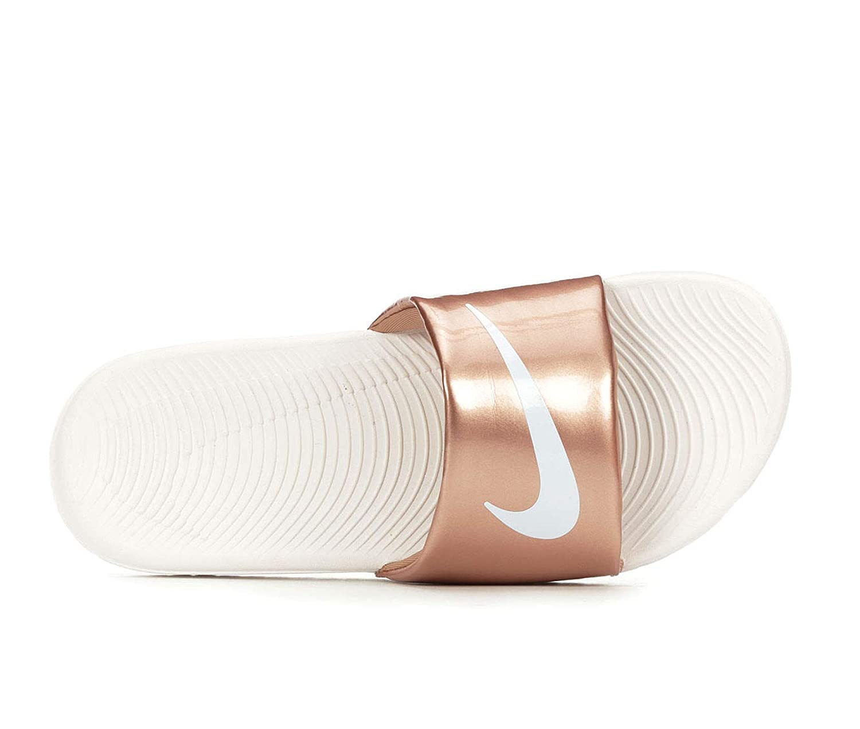 6e93a1a9e081 Amazon.com: Women's NIKE Kawa SLIDES with Swarovski Crystals Metallic and  White Color Custom Bedazzled Slip On Sandal Shoes: Handmade