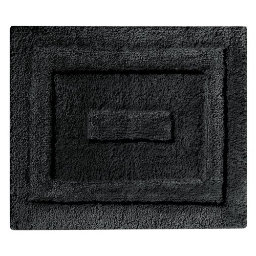 InterDesign Microfiber Spa Bathroom Accent Rug, 21 x 17, Black