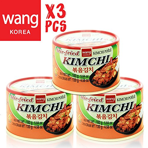Korean Stir Fried Kimchi, Authentic Canned Napa Cabbage Original Tasteful Stir-Fry Kim Chi, Vegan Gluten Free No Preservatives - 5.64 oz/can (3 Count) ()