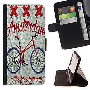 King Case - FOR Samsung Galaxy S4 Mini i9190 - is the freedom city - Prima caja de la PU billetera de cuero con ranuras para tarjetas, efectivo Compartimiento desmontable y correa para la mu?eca