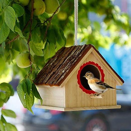 Pajarera de Madera Colgante Nido de pájaros Caja Creativa Jardín al Aire Libre Hotel de Aves para Dove Finch WREN Gorrión Colibrí de Animales pequeños: Amazon.es: Hogar