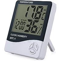 eSynic Digital Medidor Termómetro Higrómetro LCD con Reloj