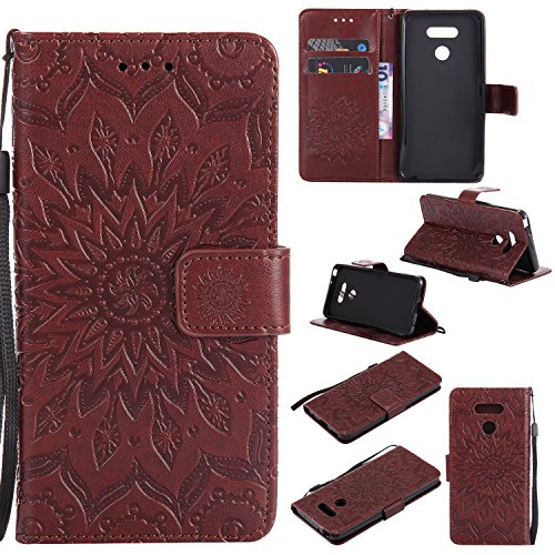 Price comparison product image LG G6 Wallet Case,  Folio Fold Card Case with Credit Card Slots Wristlet Flip Cover Sunflower Case for LG G6 2017 (Brown)