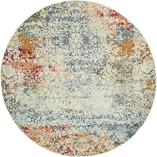 A2Z Rug Cream 5' 5 x 5' 5 Feet Round St. Tropez Collection Traditional and Modern Area Rugs and Carpet (Rug Cream Round Traditional)
