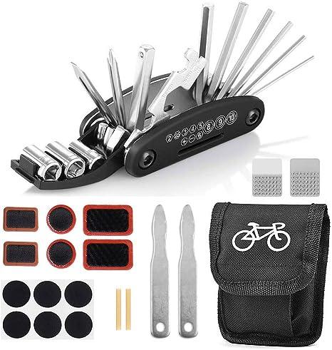 Juego de reparación de bicicletas, herramienta de bicicletas multifunción 16 en 1, herramienta para bicicletas, herramienta multiusos para bicicletas con bolsa, parche de bicicleta autoadhesivo: Amazon.es: Deportes y aire libre