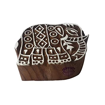 DIY Henna Fabric Textile Paper Clay Pottery Block Printing Stamp Beautiful Elephant Animal Shape Wooden Block for Printing