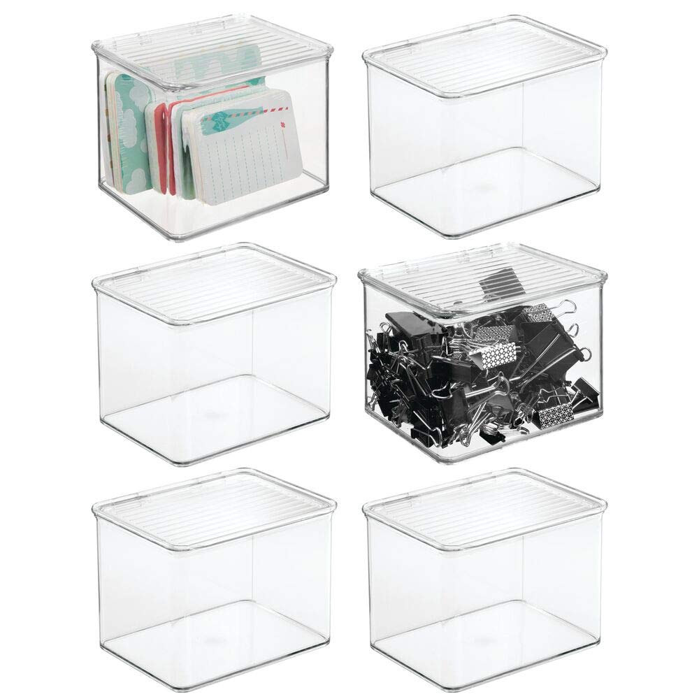 mDesign Stackable Plastic Storage Bin Box with Hinged Lid - Organizer for Office Supplies, Paperclips, Highlighters, Dry Erase Markers, Sticky Notes, Memo Pads - 5'' High, 6 Pack - Clear