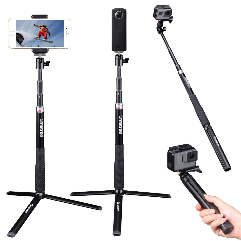Smatree Extendable Selfie Stick 36.6'' with Tripod Stand for GoPro Hero 6/5/4/3+/3/2/1/ Hero Session/GoPro Hero 2018/ GoPro Hero Fusion, Ricoh Theta S/V M15,Compact Cameras,iPhoneX,Galaxy S8/More