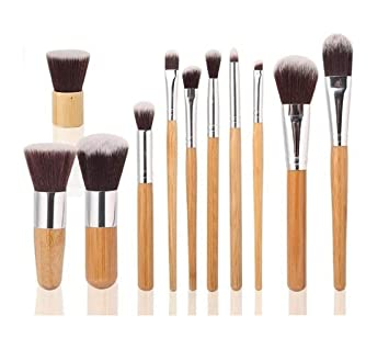 822a96e71a7b0 Amazon.com  Ambox 11 Pieces Makeup Brush Set Professional Bamboo Handle  Premium Synthetic Kabuki Foundation Blending Blush Concealer Eye Face  Liquid Powder ...