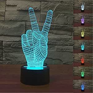 SUPERNIUDB 3D Victory Sign Hand 3D Night Light 7 Color Change LED Table Lamp Xmas Toy Gift