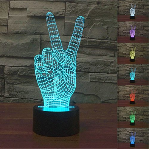 SUPERNIUDB 3D Victory Sign Hand 3D Night Light 7 Color Change LED Table Lamp Xmas Toy Gift (Manchester Lamp United Bedroom)