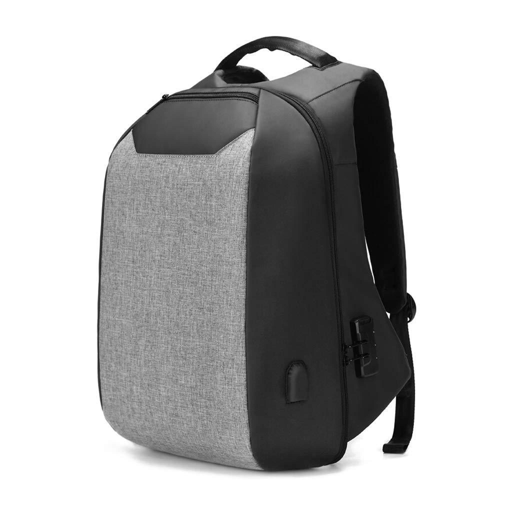 15.6インチのコンピュータのための理想的なノートパソコンのバックパック、レジャー旅行バッグを充電するビジネススクールの防水バッグ多機能USB、 色:グレーサイズ:L   B07PMJWQCW