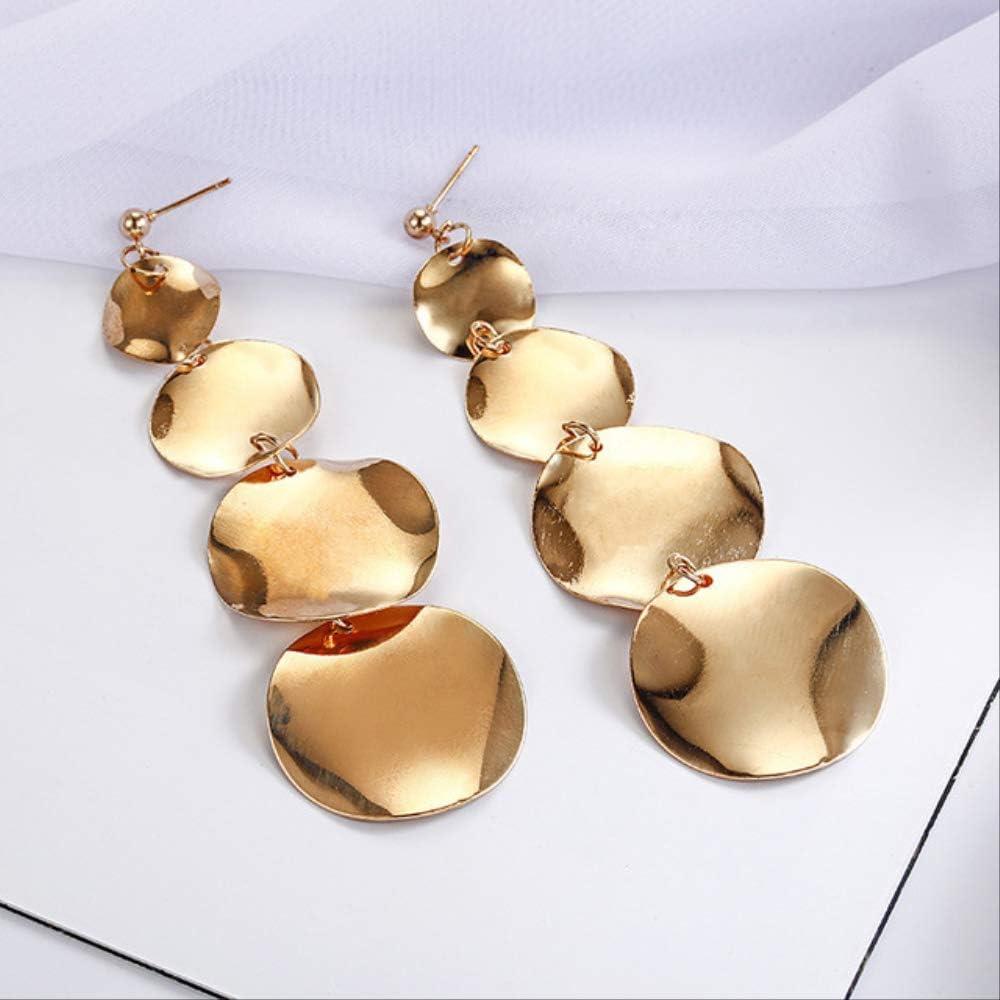 Pendiente cuelga los pendientes redondos desiguales del metal para las mujeres Pendientes geométricos de la aleación Regalo de la joyeríaoro
