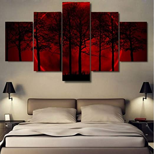 SUMGAR Red Black and White Wall Art Paintings for Living Room Framed Tree Canvas Artwork 5 Panel