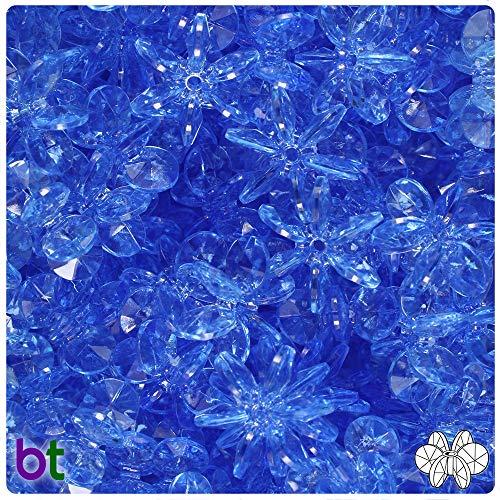 (BeadTin Medium Sapphire Transparent 18mm Sunburst Craft Beads (150pcs))