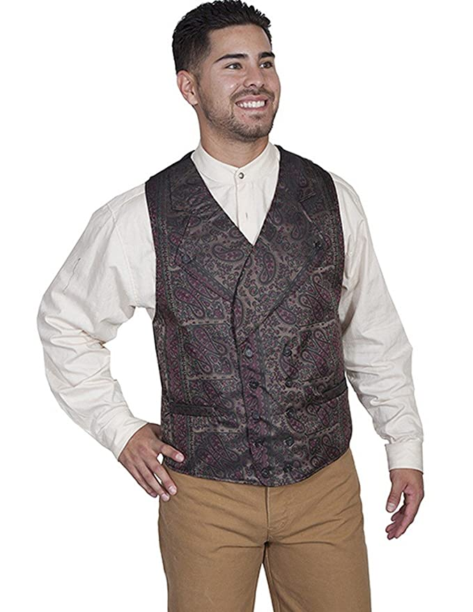 Men's Vintage Inspired Vests Scully Western Vest Mens Double Breasted Paisley Wide Lapels RW269 $55.05 AT vintagedancer.com