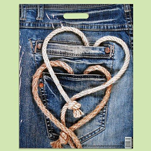 Pack de 50 Eco azul jeans-printed/Compras/bolsas de regalo de plá stico 40 x 50 cm EXTRAPACK