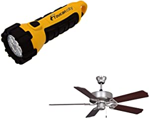 Toucan City LED Flashlight and FANIMATION Aire Decor 52 in. Satin Nickel Ceiling Fan BP200SN1