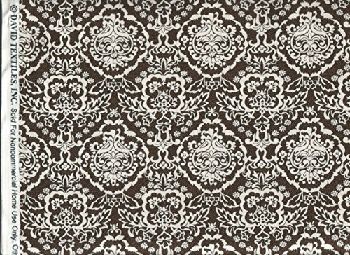 - David Textiles Fabric ~ Black Cream Toile Damask Fabric ~HALF YARD!!~ DT-4389-4C ~ Jacquard Quilt Fabric 100% Cotton 45