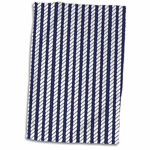 3dRose-Janna-Salak-Designs-Nautical-Navy-Blue-and-White-Nautical-Rope-Design-Towel