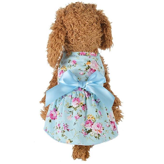 zarupeng✦‿✦ Mascota Perro Gato Cachorro Verano de Fondo Pajarita Camisa Vestido de Vestir Princesa Vestido Floral: Amazon.es: Ropa y accesorios