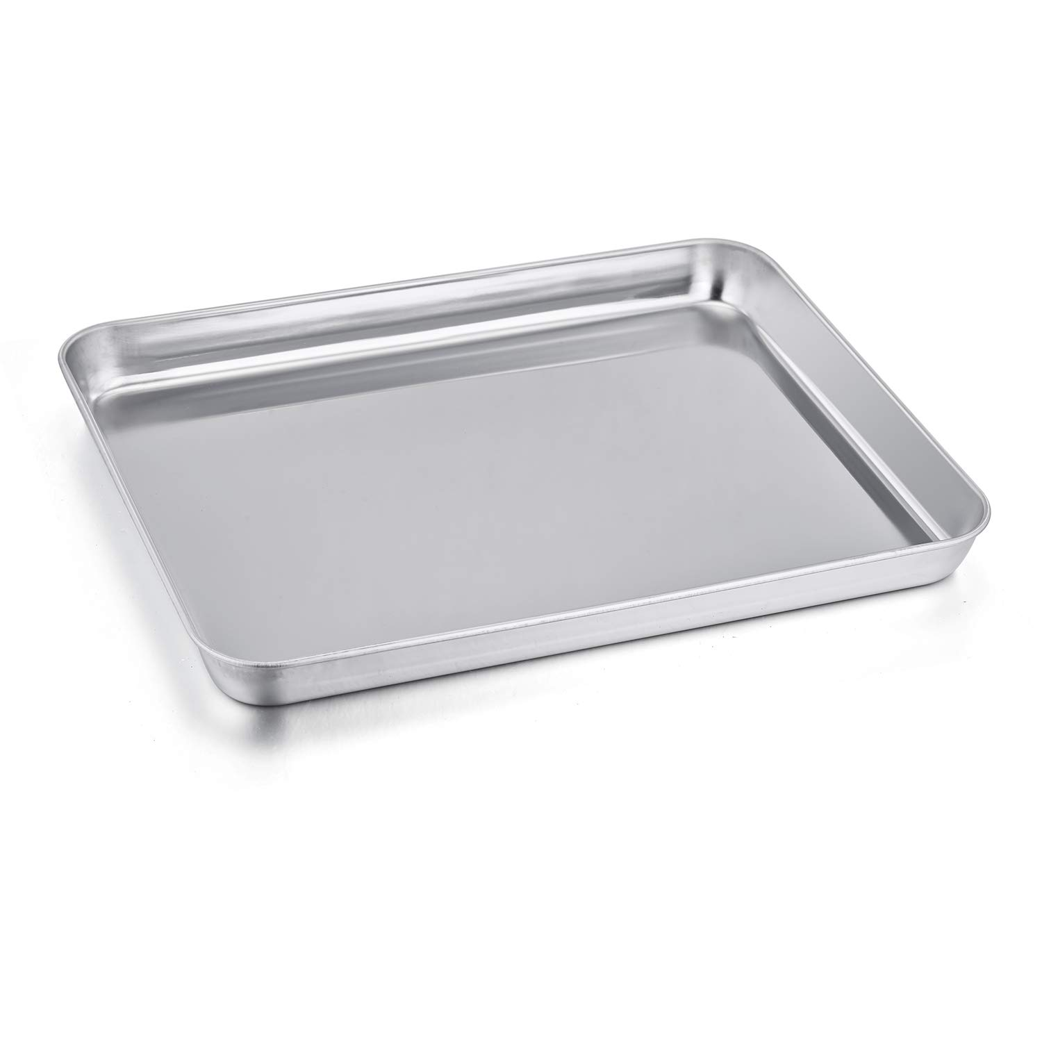 P&P CHEF Toaster Oven Pan, Stainless Steel Toaster Oven Tray Bakeware, Rectangle 12.5'' x 9.7'' x 1'', Non Toxic & Healthy, Mirror Finish & Easy Clean