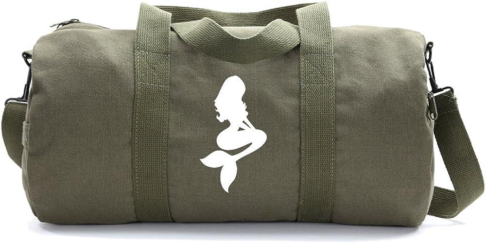 Mermaid Cartoon Heavyweight Canvas Duffel Bag