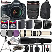 Canon EOS 5D Mark III DSLR Camera + Canon 24-105mm IS USM Lens + 650-1300mm Telephoto Lens + 500mm preset Zoom Lens + 0.43X Wide Angle Lens + 2.2x Telephoto Lens - International Version