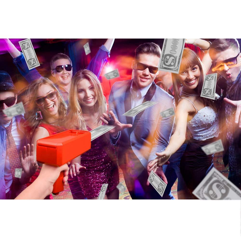 Kevide Interesting Party Game Props-Money Gun Super Gun Cash Gun Red Money Gun Make it rain(300 Prop Money) by Kevide (Image #2)