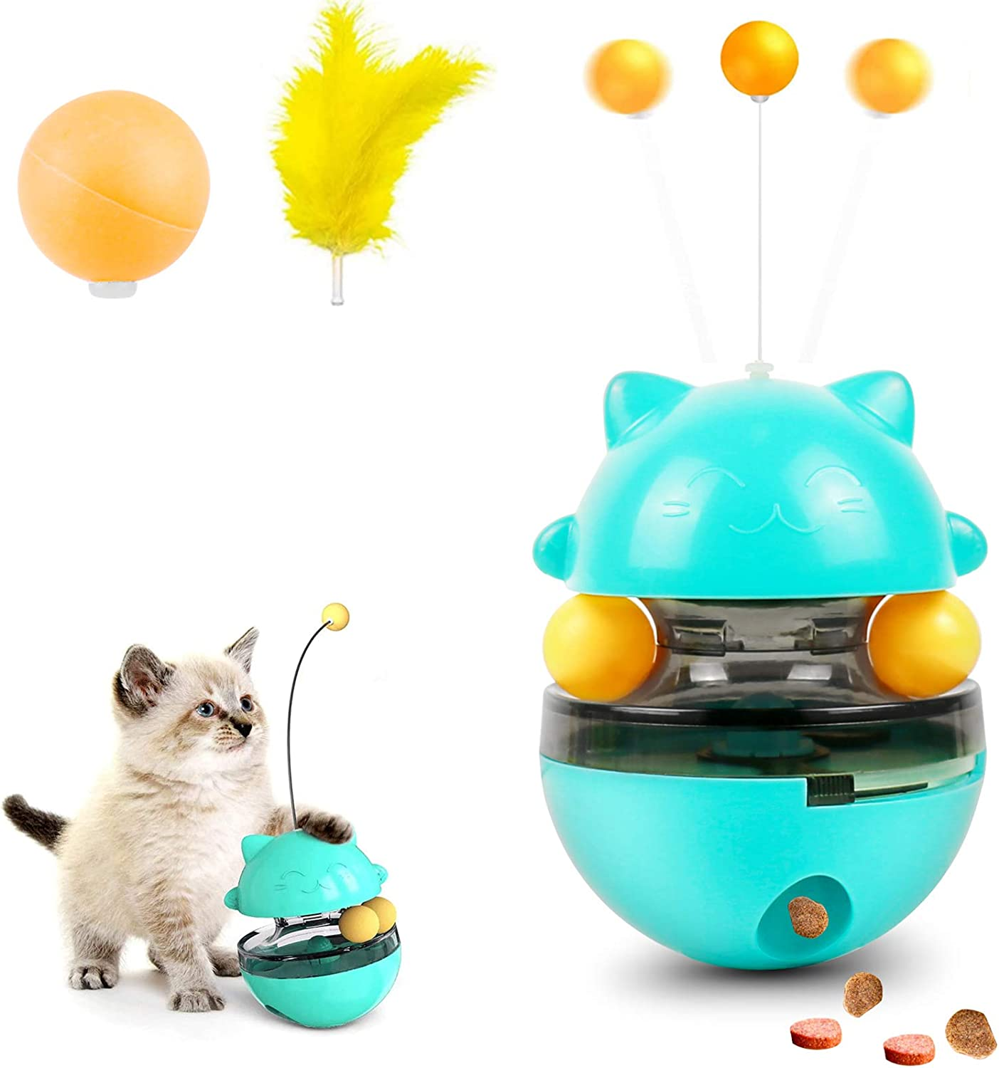 Cat Toys, Cat Tumbler Toy Cat Food Dispenser Cat Slow Feeder, Anxiety Relie Interactive Training Funny Cat Stick Toy for Cats Kitten Exercise Interactive Game, Replaceable Rolling Ball and Feathers